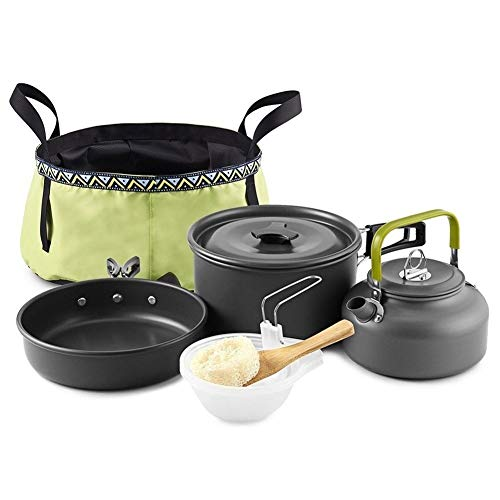 LNNUKc Außen 10Pcs Camping Kochgeschirr Essgeschirr Backpacking Kochtopf Pan Set Kessel mit Folding Waschbecken Eimer for 2-3 Personen Backpacking Wandern Utensil Gang (Color : Black)