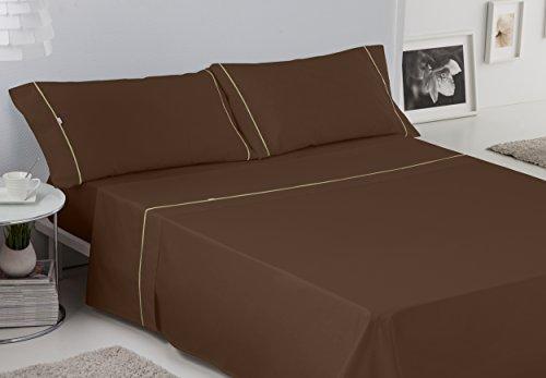 ES-TELA - Juego de sábanas LISOS BIÉS color Café (4 piezas) - Cama de 150 cm. - 50% Algodón / 50% Poliéster - 144 Hilos
