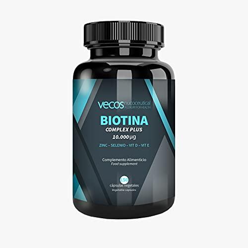 Biotina 10000 mcg de alta concentración + Zinc + Selenio + Vitaminas para la caida y crecimiento de cabello y uñas - 150 cápsulas vegatales