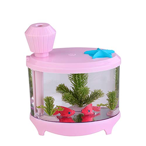 KJGHJ Creative Fish Tank Humidificador Hogar Mini USB Humidificador De Aire Ultrasónico Hermoso Luz De Noche DC5V Aroma Afile Difusor Top Relleno Humidificador (Color : Pink)