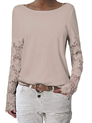 ZANZEA Donna Maglie Manica Lunga Pizzo Maglione Allentate Girocollo Maglietta Casual Taglie Forti T-Shirt Beige XL