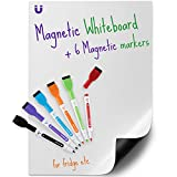 kedudes Magnetic Dry Erase Whiteboard Sheet 17' x 11' with a Set of 6 Markers