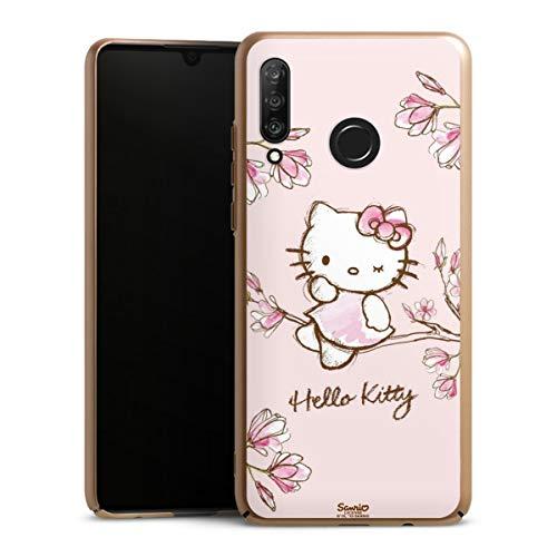 DeinDesign Handyhülle kompatibel mit Huawei P30 Lite Cover Gold Schutzhülle Hello Kitty Fanartikel Hanami