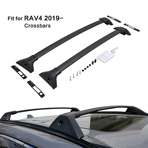 Kingcher 2 Pieces Cross Bars Fit for Toyota RAV4 2019 2020 Black Crossbars Roof Rack Baggage Luggage Lockable