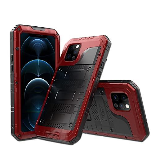 Funda para iPhone12/12 Pro/12 Pro Max/12 Mini, Antigolpes y ip68 Impermeable Rígida Robusta Carcasa Resistente al Impacto Militar Duradera Blindada Fuerte de Seguridad,Red,iPhone12