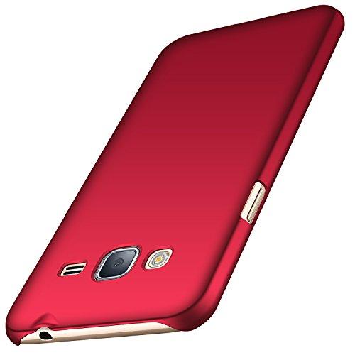 Anccer Cover per Samsung Galaxy J3 2016 [Serie Colorato] di Gomma Rigida Protezione Da Cadute e Urti Compatibile con Samsung J3 2016 (Rosso liscio)