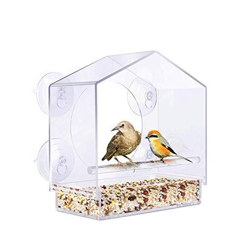 Fenster-Vogelfutterhaus, Transparentes Acryl Futterhaus füR VöGel füR Vogelbeobachtung Am Fenster, Vogelhaus Fenster Saugnapf Leicht zu Reinigen mit Saugnapfschale