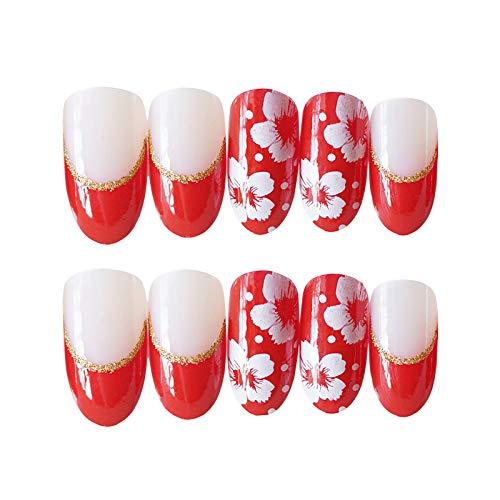 24 PCS Set Red Sakura Cherry Blossom Printing Press On Nails Christmas Red False Nails Fake Nails with Glue and Adhesive Tab 5