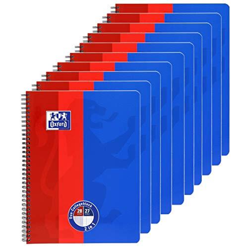 Oxford Schule DUO Collegeblock A4, 80 Blatt (50 Blatt kariert und 30 Blatt liniert) mit Doppelrand, 10er Pack