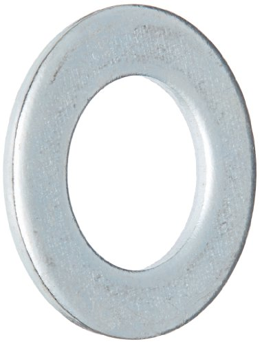 Steel Flat Washer, Zinc Plated Finish, DIN 125, Metric, M20 Screw Size, 21 mm ID, 37 mm OD, 3 mm Thick (Pack of 25)
