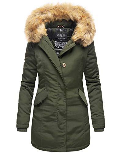 Marikoo Damen Winter Jacke Parka Mantel Winterjacke warm gefüttert B362 [B362-Karmaa-Olive-Gr.S]