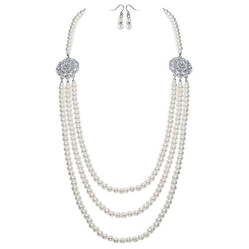 ArtiDeco - Collana da donna anni '20 Gatsby multistrato finte perle collana retro con cristallo fiore spilla e orecchini di perle, colore: Weiß-stil 2, cod. Ar-Necklace002-White-2