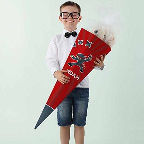 Striefchen® Ninja Zuckertüte mit Namen des Kindes - toll für kleine Schattenkrieger die in die Schule kommen 80 cm