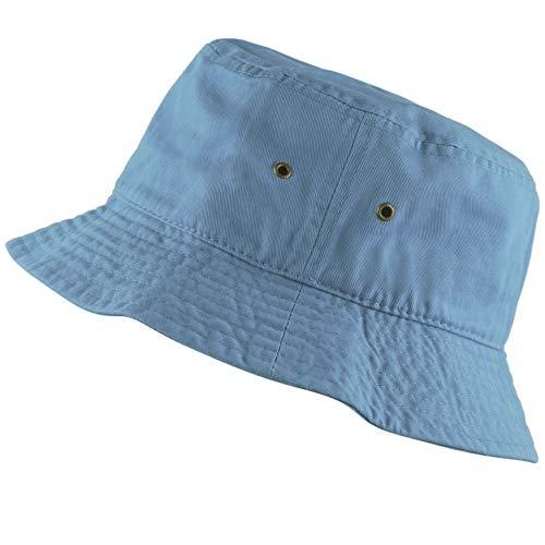 The Hat Depot 300N Unisex 100% Cotton Packable Summer Travel Bucket Hat (S/M, Sky Blue)