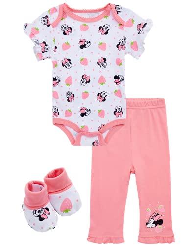 Disney Conjunto de 4 piezas para niñas de bebé – Bodysuit, pantalones babero y botines: Minnie, Pooh Bear, Dumbo - - 6-9 meses