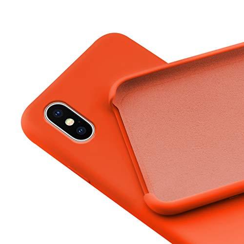 N Newtop - Carcasa compatible para iPhone XS Max, carcasa de TPU de silicona semirrígida, colores microfibra interior suave naranja