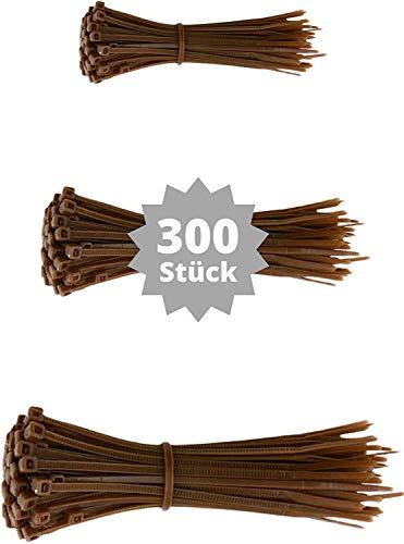 djb, extra hochwertige Profi Kabelbinder braun, Set, 300 Stück, Industrie-Qualität, Sortiment 100/140/200 mm