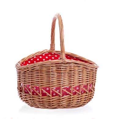 Egmont Toys Kinderkorb, Einkaufs-Korb, großer Korb, innen rot gepunktet, Maße: 21 x 20 x 24 cm