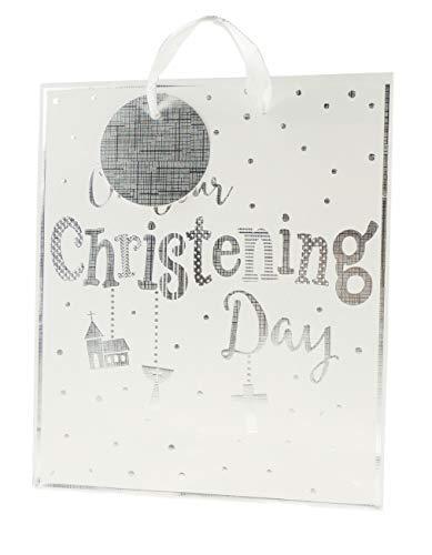 Kostbare Kleine Meisje Jongen Baby Douche Christening Dag Gift Wrap Tas Wit Zilver Kruis Medium Kleur: wit