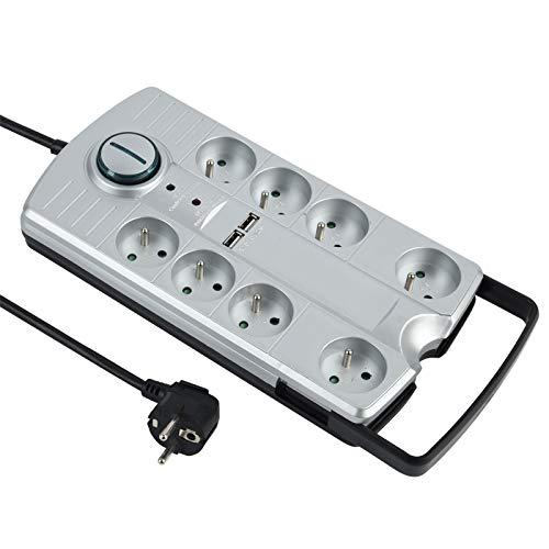 Energaline 35456 stekkerdoos, 8 stopcontacten met 2 USB-poorten, 2,1 A, met voetschakelaar, draagbaar en insteekbaar, met uittrekbare greep stekkerdoos, 1,5 m, zwart
