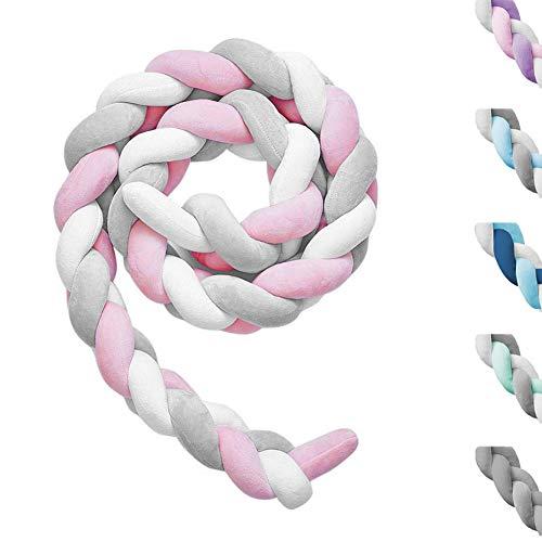 Paracolpi Lettino Neonato Paraurti Cuscino Prottege Testa Bambino Paracolpi Culla Nido Intrecciato Culla 2M Bianco+Grigio+Rosa