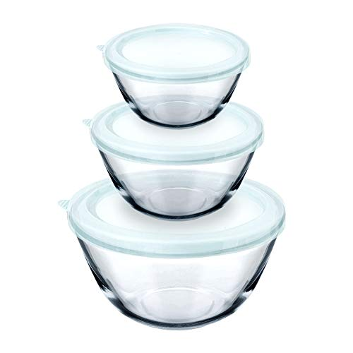 Luvan Bols à mélanger en verre avec couvercles Le lot de 3 saladiers (1 l, 2,5 l, 4,2 l) est idéal pour le stockage des aliments, la cuisson au four, la cuisson au four, le rôtissage et la préparation