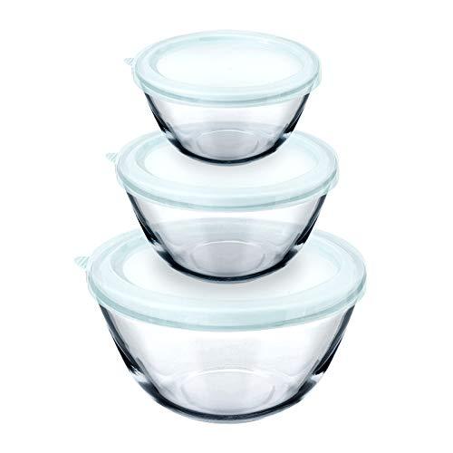 Luvan Good Grips Juego de 3 Cuencos para Ensalada de Vidrio con Tapas (1 L, 2.5L, 4.2L),Ideal para almacenar Alimentos, cocinar, Hornear, Preparar