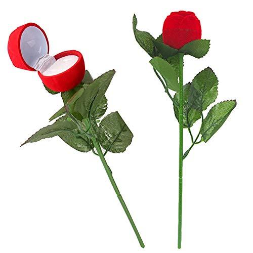 Scatola Porta Anello LLMZ 2 Pezzo Scatola Anello Rosa Rossa Cofanetto Portagioie a Forma di Rosa Rossa, per Matrimonio Anelli, San Valentino, Anello di Fidanzamento