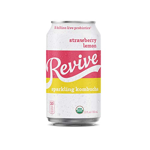 Revive Sparkling Kombucha (Strawberry Lemon, 12-Pack)
