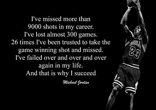 Michael Jordan 4# Schwarz und Weiß American Basketball Spieler NBA Sport Zitat Plakat Motivation Bild Inspiration Foto Zug Harte Schlafzimmer Grafik Wand Dekoration Nachdruck Grafik