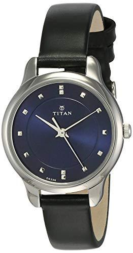 Titan de la mujer 2481sl08contemporáneo esfera azul y correa de piel color marrón reloj