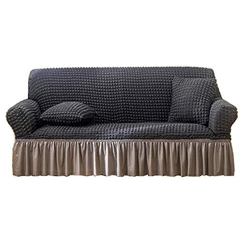 BHAHFL Funda para sofá con Falda de Seersucker, Funda para sofá de Encaje con Falda de Estilo Coreano, Funda para sofá de 1 2 3 4 Asientos, Funda para Muebles para Mascotas,Dark Gray,4Seater