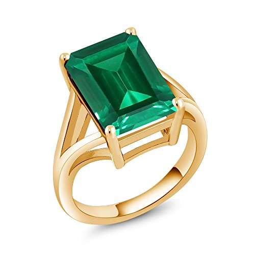 Gem Stone King 6.50 Ct Green Simulated Emerald 18K Yellow Gold Plated Silver Women's Solitaire Ring (Available in size 5, 6, 7, 8, 9)