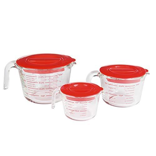Doonmi 3-Pack con Tapa Copa de medición (0.25L,0.5L,1L), de Vidrio Avanzada,microondas, Horno, lavavajillas, refrigerador Seguro, Cocina, horneado, preparación.
