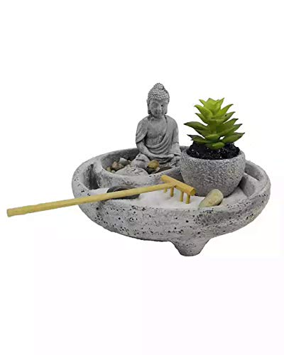 SPH Zen Garden/Round Shape Sand Zen Garden with Buddha and Cactus for Home...