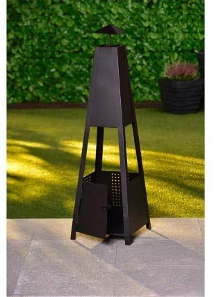 OTZ Chiminea Outdoor Fire pit Log burner Heater 100cm x 30cm x30cm Fully assembled Black