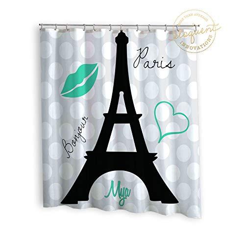 Mike21Browne Eiffelturm-Duschvorhänge Aquamarine Paris-Kindereiffelturm-Vorhänge personalisiert