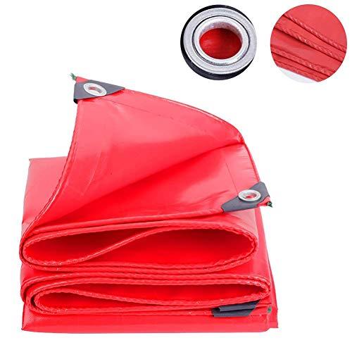 JY & WIN Tarpaulin Red Poly met oogjes en riemrand waterdichte high-performance tarps-covers voor camping fiets rugzak (maat: 2 m en 4 m) 5 m × 6 m.