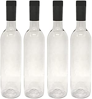 Plastic Wine Bottles & Screw Caps, Clear, 750ml - Pack of 4