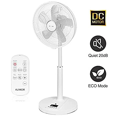 4UMOR Standing Pedestal Fan Quiet with Remote Control 9 Speeds 4 Operational Modes and 9H Timer with Led Display, Desk Fan with Height Adjustable 90°Oscillation, 26W, White