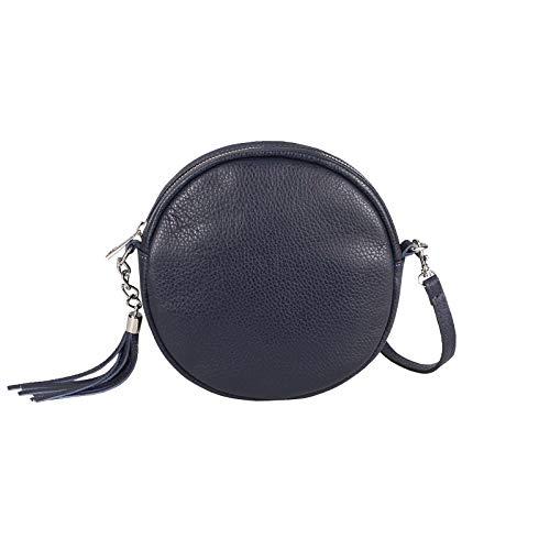 OBC Made in Italy Damen ECHT Leder Tasche Crossbody Runde Schultertasche City Bag Crossover Umhängetasche Clutch Ledertasche Damentasche Minibag (Dunkelblau)