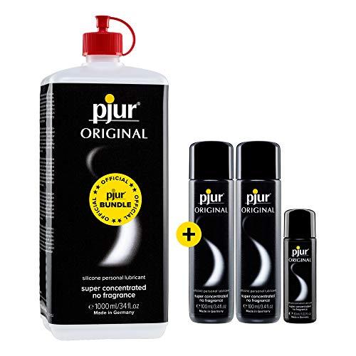 pjur ORIGINAL BigPack - Premium Silikon-Gleitgel im Vorteilspack - lange Gleitfähigkeit ohne zu kleben (1x 1.000ml, 2x 100ml, 1x 30ml)