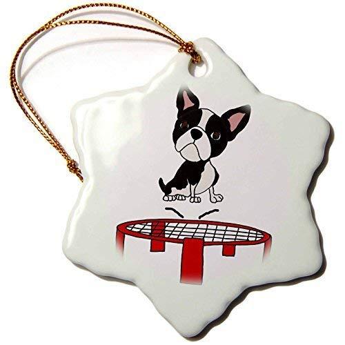 Dant454ty Boston Terrier Hond Springen Op Trampoline Kerst Ornamenten voor het Huis 2019 voor Vrouwen Vrienden Kids Kerstboom Ornament