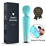Upgraded Personal Wand Massager - 20 Magic Vibration Modes - Cordless and Handheld - Magnetic Charging - Waterproof - Whisper Quiet - for Neck Shoulder Back Body Massage