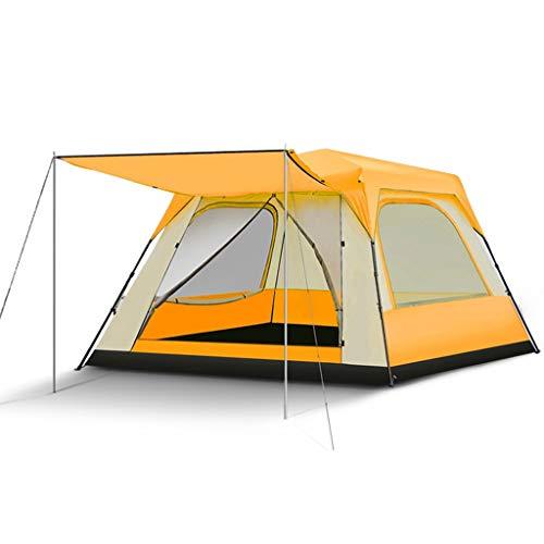 HUIYAN Camping Zelte Großes Automatisches Pop-up-Zelt | 5-8 Personen Aufnehmen Kann Wasserdichtes Zelt | 4 Jahreszeiten Regen Tragbares Klapp Quadrat Familienzelt (Color : Orange)