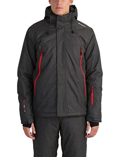 Ultrasport Mel - Giacca da sci o snowboard uomo con tecnologia Ultraflow 10.000 - Giubbotto termico per outdoor e sport invernali con cappuccio, grigio/rosso, L