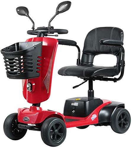 Silla de Ruedas eléctrica, 4 ruedas Scooter eléctrico for Adultos Mayores de energía Scooter Heavy Duty scooter, plegable, que se puede abrir Baranda, 45 cm ancho del asiento ,4 Ruedas Andador Para An