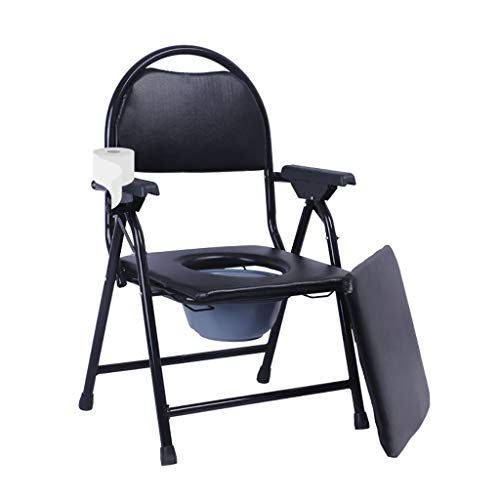 Foldable Chair Commode, Mobility Rehab Shower Chair with Toilet Paper Holder Elderly Handicapped Pregnant Women Hospital