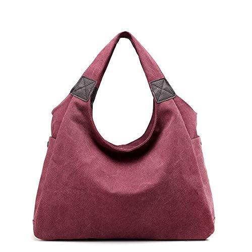 KISS GOLD Damen Canvas Handtasche, Casual Geldbörse Tote Bag Top Griff Handtaschen Crossbody Taschen für Frauen,Vintage Shopper Schultertasche. (weinrot)