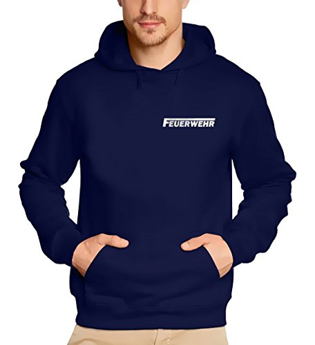 Coole-Fun-T-Shirts Feuerwehr reflektierender Druck Sweatshirt mit Kapuze Hoodie Dunkelblau, Gr.XL